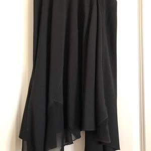 Black silk flowing skirt